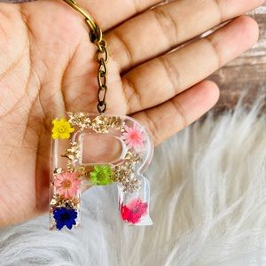 Flower initial key chain